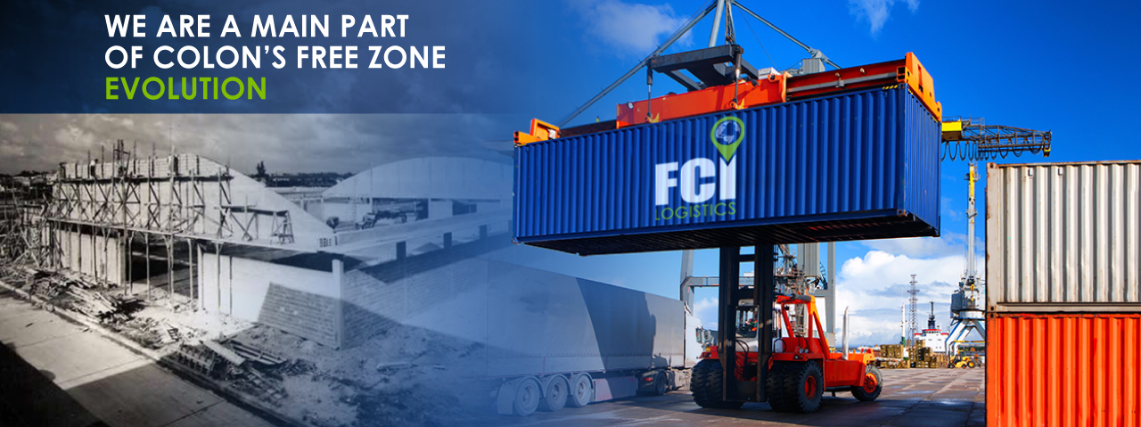 Warehouse building in colon free zone, loading port, machinery, crane and containers. construcción de almacén en zona libre colon, puerto de carga, maquinaria, grúa y contenedores.